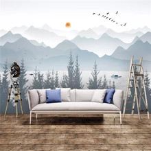 Artistic concept abstract ink landscape sofa background wall decoration painting professional custom mural photo wallpaper