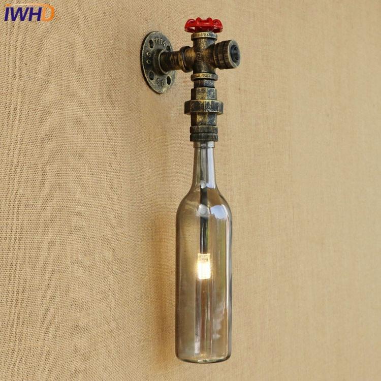 American Loft Vintage Industrial Glass Bottle Wall Light LED LED Water Pipe Light Edison Wall Lamp Retro Vnitřní Postel Vedle Osvětlení