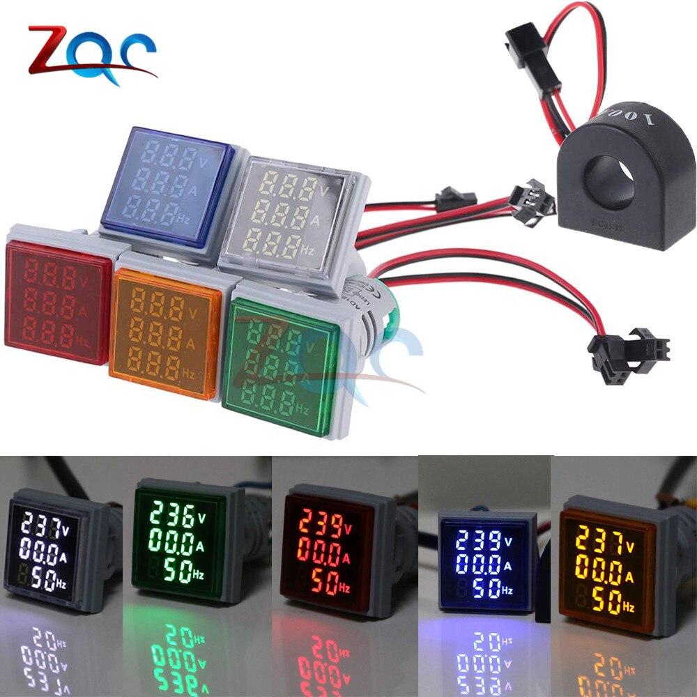 3 In 1 AC 60~500V Digital Voltmeter Ammeter HZ Hertz Frequency Meter 22mm Current Voltage Indicator Tester Amp Signal Light LED