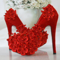Women Wedding Shoes Red Bridal Shoes Woman High Heels Women S Pumps Elegant Evening Dress Shoes