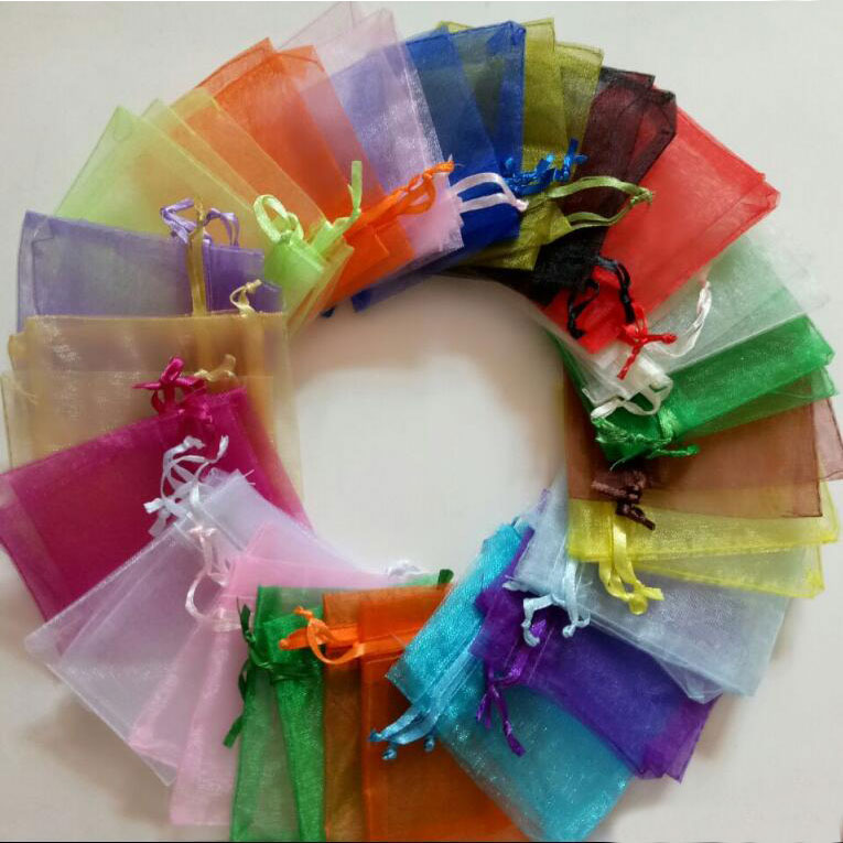 Wholesale1000pcs 20cmx30cm drawstring pouch Wedding Christmas party Gift Bag organza drawstrings jewelry Packaging Bag Yarn Bags