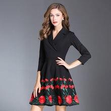 e941b247242 2017 NOUVEAU printemps automne lady Broderie robe travail Des Femmes de  Vêtements Nouveauté parti Slim robe Plus Taille XXXL hiv.