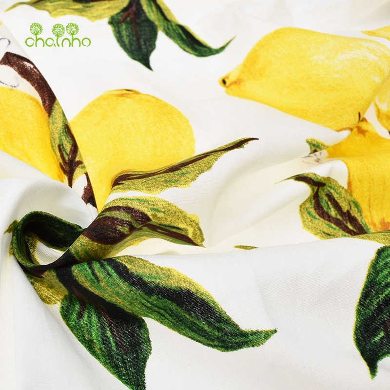 New arrived Lemon printed Cotton Poplin Fabric Patchwork For Sewing Cloth Doll Sheet Skirt Dress Material Tissue Half Meter