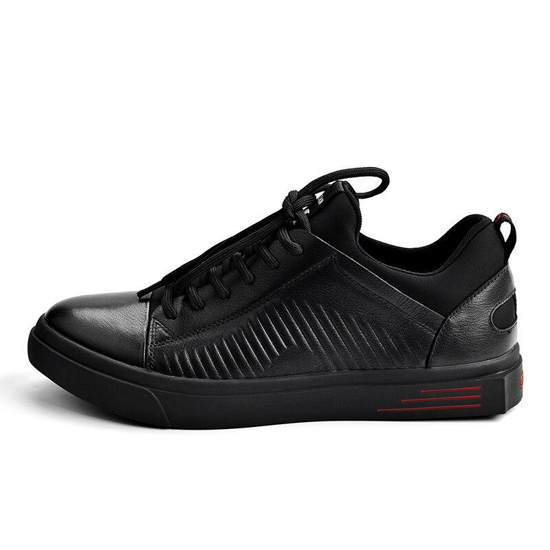 Pria Black Mode Skateboard Schuhe Rindsleder Luxus Leder Aus Sepatu Designer Wohnungen Kulit Echtem Lässig Männer Mycolen Marke ZqwXa0X