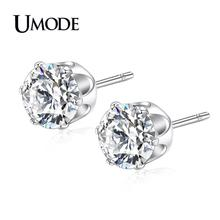 UMODE Simple Design Fashion Round CZ Crystal Stud Earrings for Women Party Wedding Jewelry Gift Six Prong 5mm 6mm Zircon AUE0340