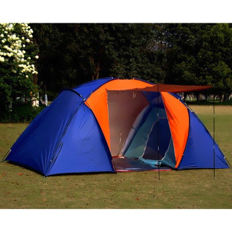 Большая походная палатка для 5 8 человек, водонепроницаемая двухслойная палатка для путешествий с двумя спальнями, семейные вечерние палатки для путешествий, рыбалки, 420x220x175 см - 4