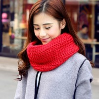 WENDYWU Women Winter Fashion Scarf Knitted Scarves Collar Neck Warmer Crochet Ring Loop Women Scarves
