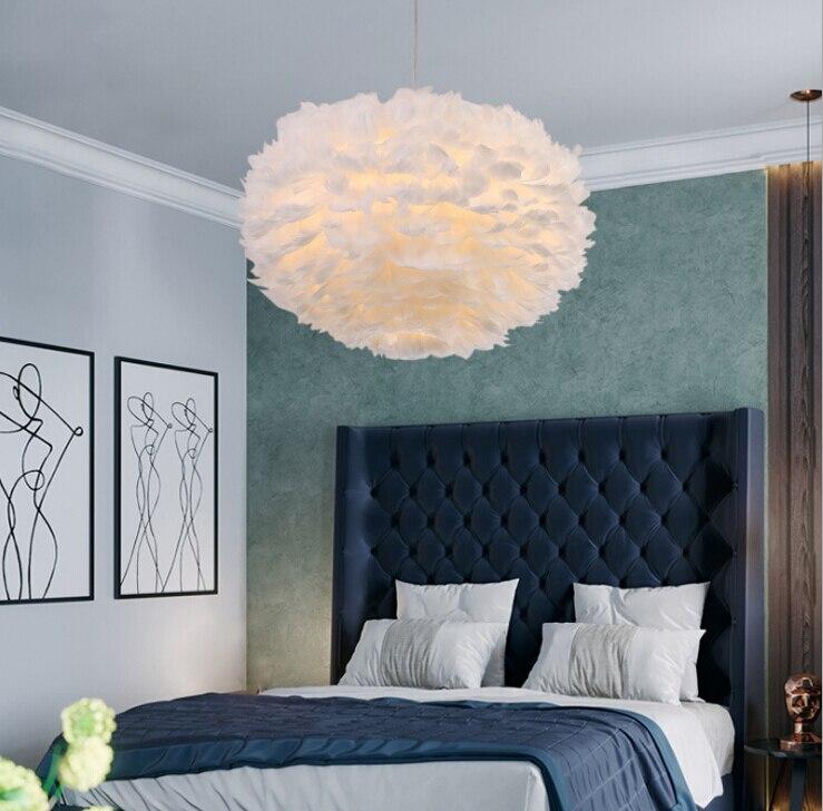 Pendant Feather Lamp Romantic Dreamlike Feather Droplight Bedroom Living Room Parlor Hanging Lamp E27 warm light