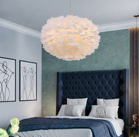 Pendant Feather Lamp Romantic Dreamlike Feather Droplight Bedroom Living Room Parlor Hanging Lamp E27 warm light