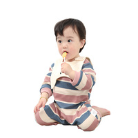 Unisex Baby Rompers Cotton Newborn Baby Clothes Long Sleeve Striped Infant Jumpsuit And Bib 2PCS Toddler