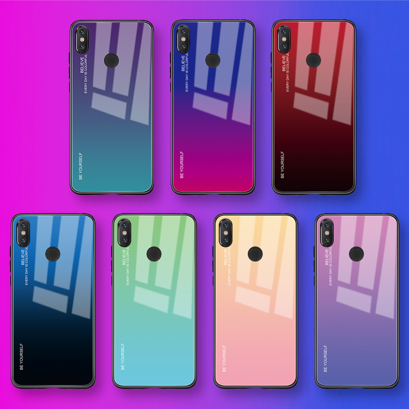 Gradient Tempered Glass Case For Xiaomi Redmi Note 7 5 6 Pro Pocophone F1 Mi8 Mi A2 Lite 6X 5X A1 Mi9 SE Cover Protective Fundas(China)