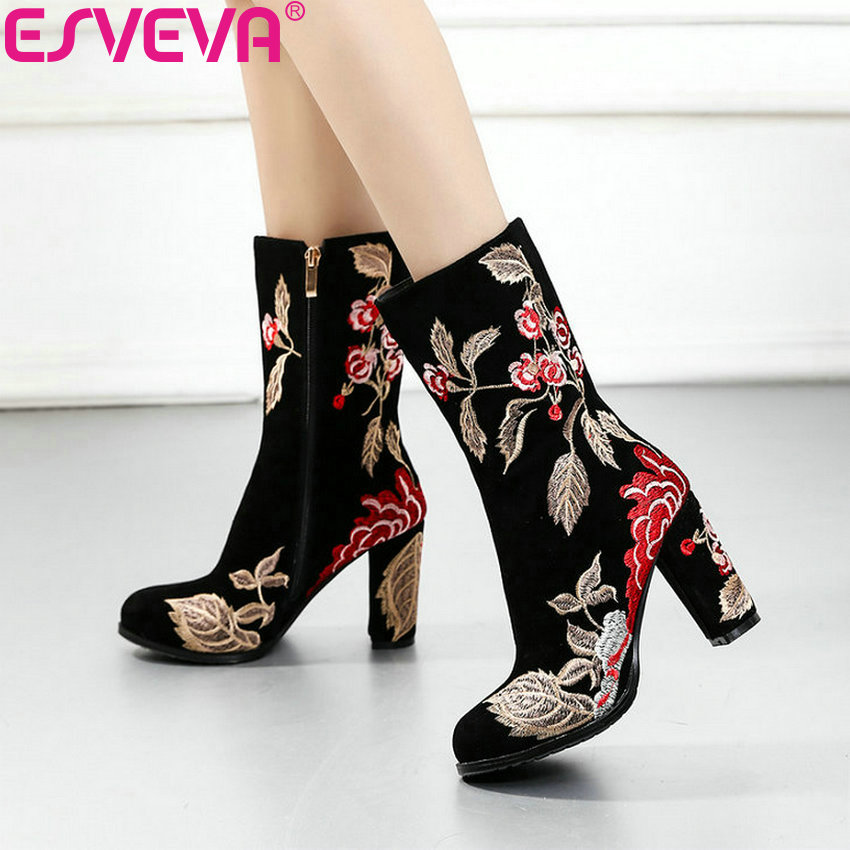 ESVEVA 2019 Woman Boots Embroidery Handmade Square High Heels Winter Shoes Boots Women Mid calf Boots Shoes Round Toe Size 34 43