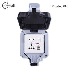 Coswall IP66 עמיד עמיד למים חיצוני תיבת קיר שקע חשמל 1 כנופיית אוניברסלי/תקן בריטי להעביר לשקע עם ניאון
