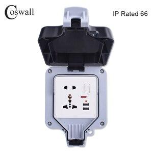 Image 1 - Coswall IP66 עמיד עמיד למים חיצוני תיבת קיר שקע חשמל 1 כנופיית אוניברסלי/תקן בריטי להעביר לשקע עם ניאון