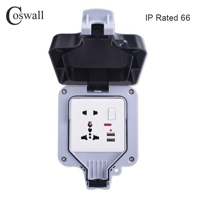Coswall IP66 Resistente Alle Intemperie Impermeabile Scatola Esterna Presa di Potere Della Parete 1 Gang Universale/British Standard Switched Presa Con Neon