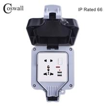 Coswall Toma de corriente de pared IP66 impermeable para exteriores, toma de corriente de pared, 1 entrada, salida conmutada Universal/estándar británico con neón