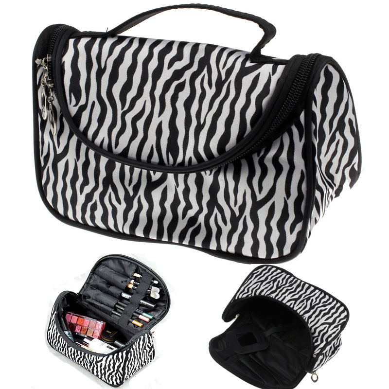 2015 Professional Cosmetic Case Bag Large Capacity Portable Women Makeup cosmetic bags Zebra Print storage travel bags Free Ship large capacity suitcase explosion proof travel transport portable safety box storage case bag for dji spark accessories pgytech