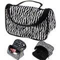 2015 Professional Cosmetic Case Bag Large Capacity Portable Women Makeup cosmetic bags Zebra Print storage travel bags Free Ship