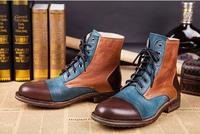 Новый Пояса из Натуральной Кожи Мотоциклетные Мужская обувь повседневная обувь модные ковбойские Botas Кружево Высокие ботильоны Мужская об