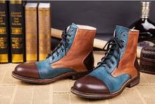 Купить с кэшбэком New Genuine Leather Motorcycle Men's Shoes Casual Shoes Fashion Cowboy Botas Lace High Top Ankle Boots Men Shoes Autumn Winter