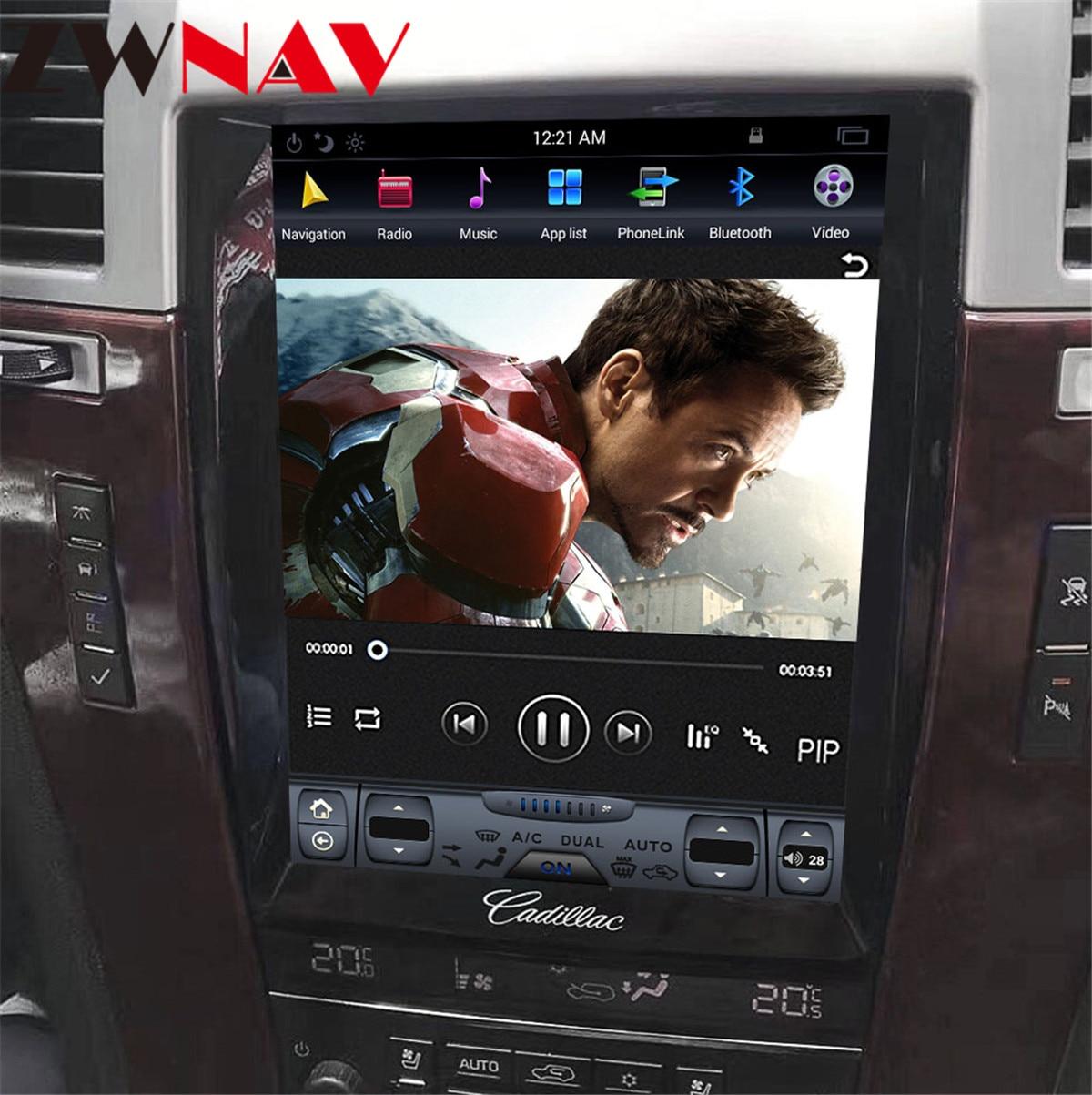 Tesla vertic écran Android 8.1 voiture DVD multimédia pour Cadillac Escalade 2007-2012 Auto Audio vidéo Radio stéréo GPS Navi 1 din