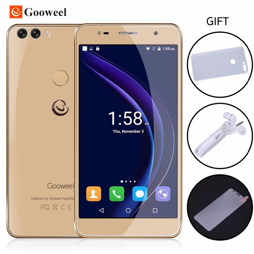 Цена за Gooweel M8 Смартфон Отпечатков Пальцев ID Двойной 2.5D Стекло 5.5 дюймов HD IPS экран MTK6580 quad core мобильный телефон 1 ГБ + 8 ГБ 13.0MP