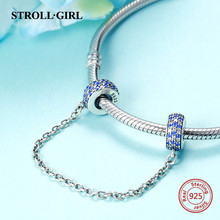 2018 strollgirl Safety chain diy Sterling Silver 925 Beads Fit Original Pandora Charm Bracelets Pendant for n Jewelry Bead gift