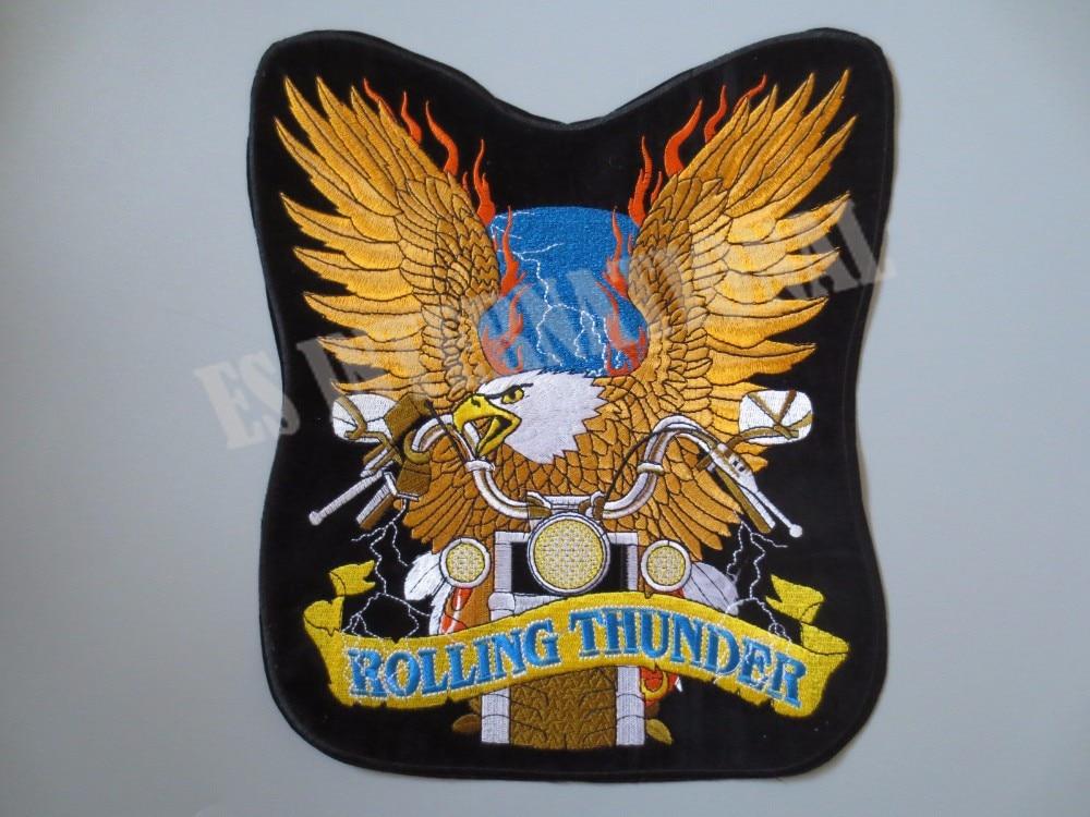 11 Inches Rolling Thunder Grote Borduurwerk Patches Voor Jacket Terug Vest Motorfiets Club Biker Mc Aantrekkelijk Uiterlijk