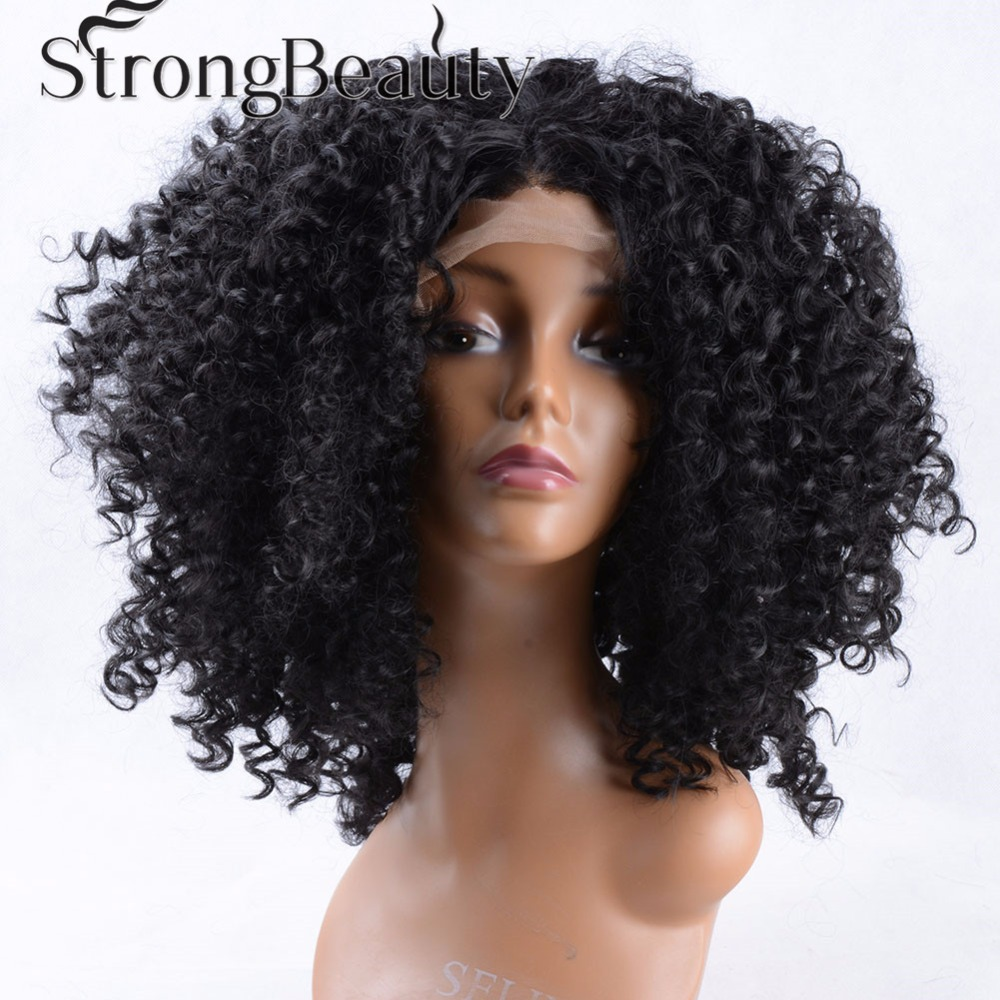 ФОТО wholesale kinky curly synthetic wigs for black woman lace front wig heat resistant Synthetic Hair brazilian hair