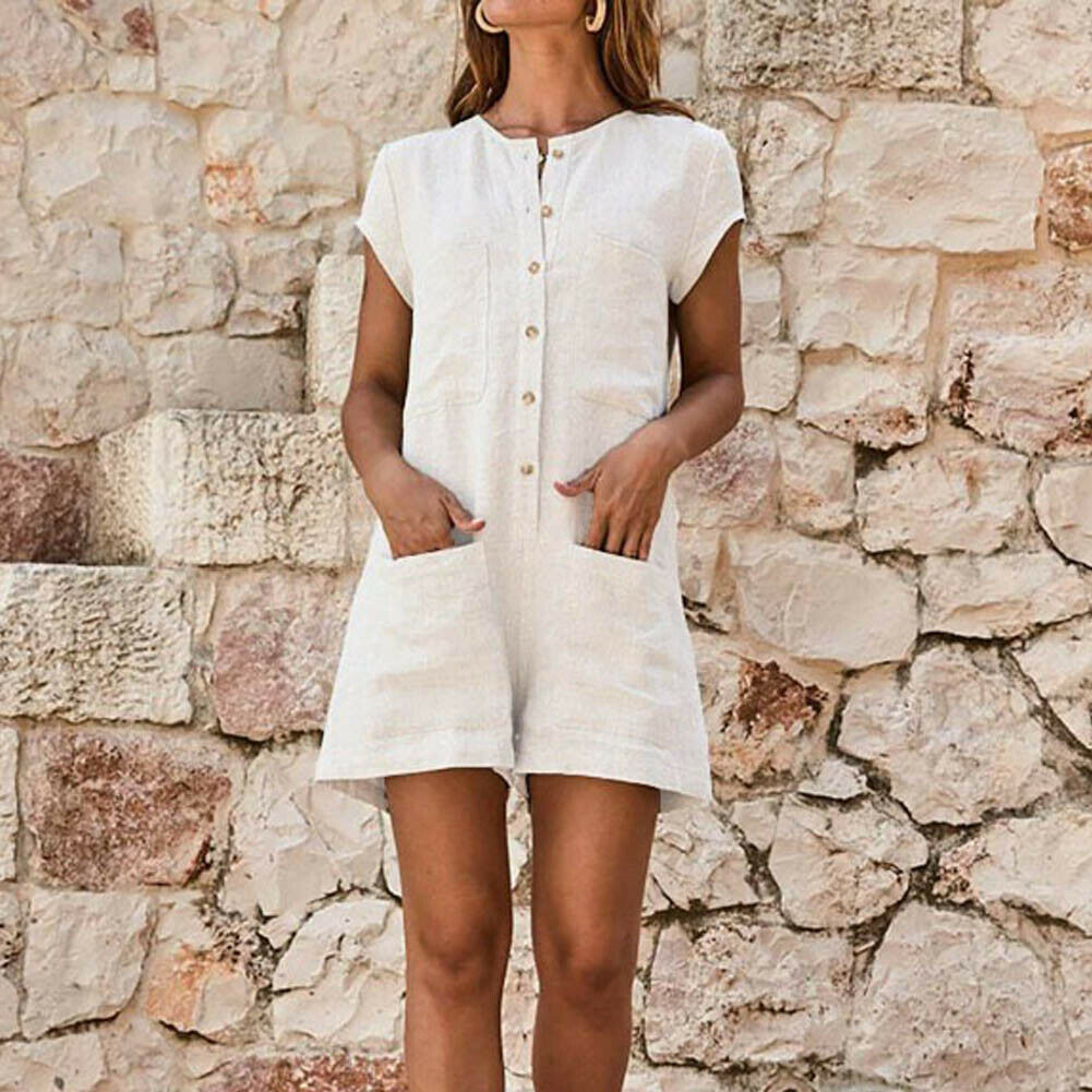 Women Summer Cotton Linen Jumpsuit Ladies Holiday Short Sleeve Casual Loose Playsuit Summer Beach Pocket Shorts Romper Trousers