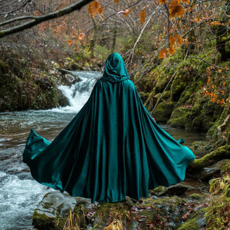 Elegant Wedding Bridal Wrap Velvet Cape Green Hooded Cloak Medieval Elven Fantasy Costume Cape With Hood 1.8m Length DJ112
