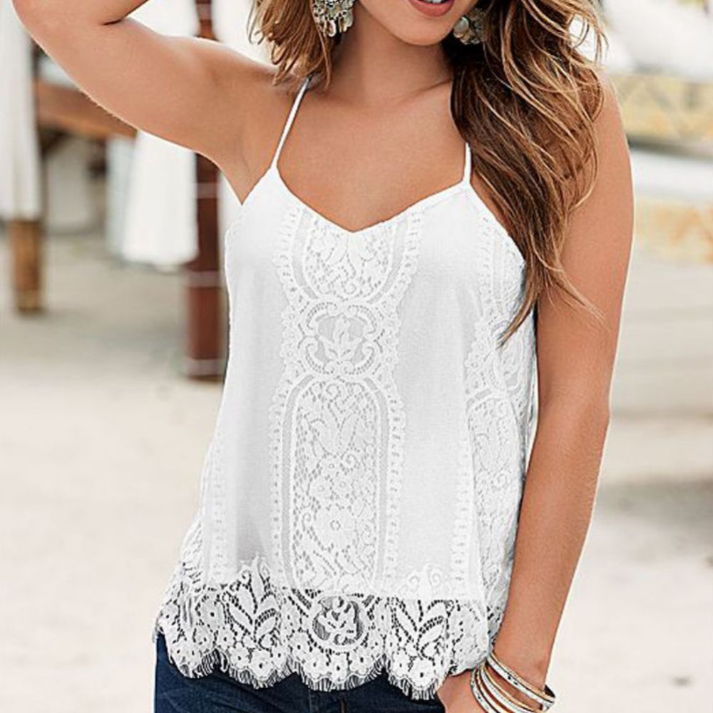 Summer Women Sexy Loose White T-shirt Casual Sleeveless Black Camis Lady Casual   Tank   Spagettic Strap Crochet Lace Hem Cami   Tops