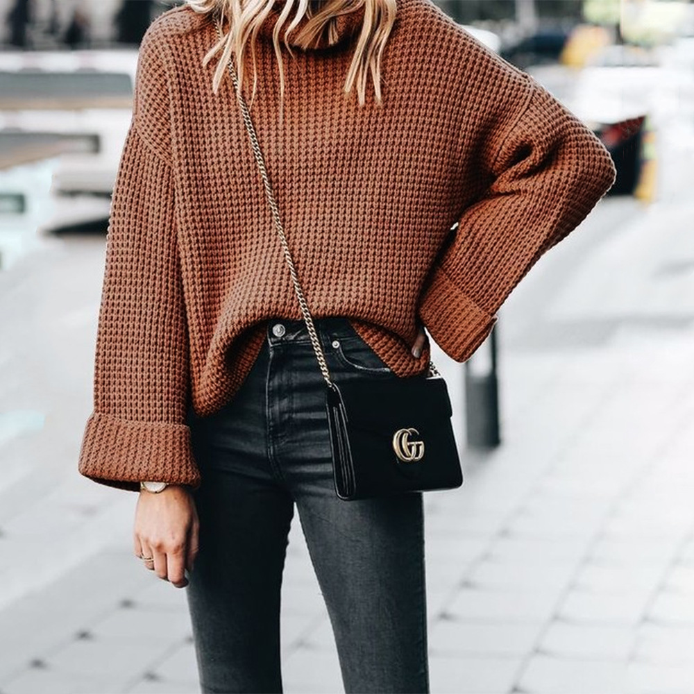 winter and2019 basic female sweaters fashion casual sweater Europe style computer knitted turtleneck pullovers