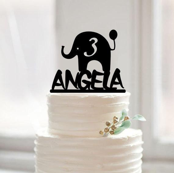 Happy Birthday Baby Cake Topperelephant Baby Shower Cake Topper