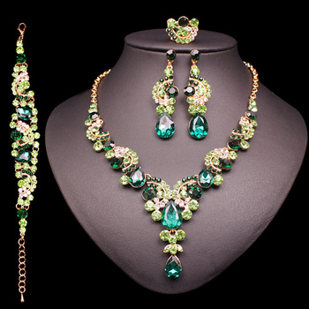 Fashion Crystal Jewelry Sets Jewelry Jewelry Sets Women Jewelry Metal Color: 4 pcs suit green