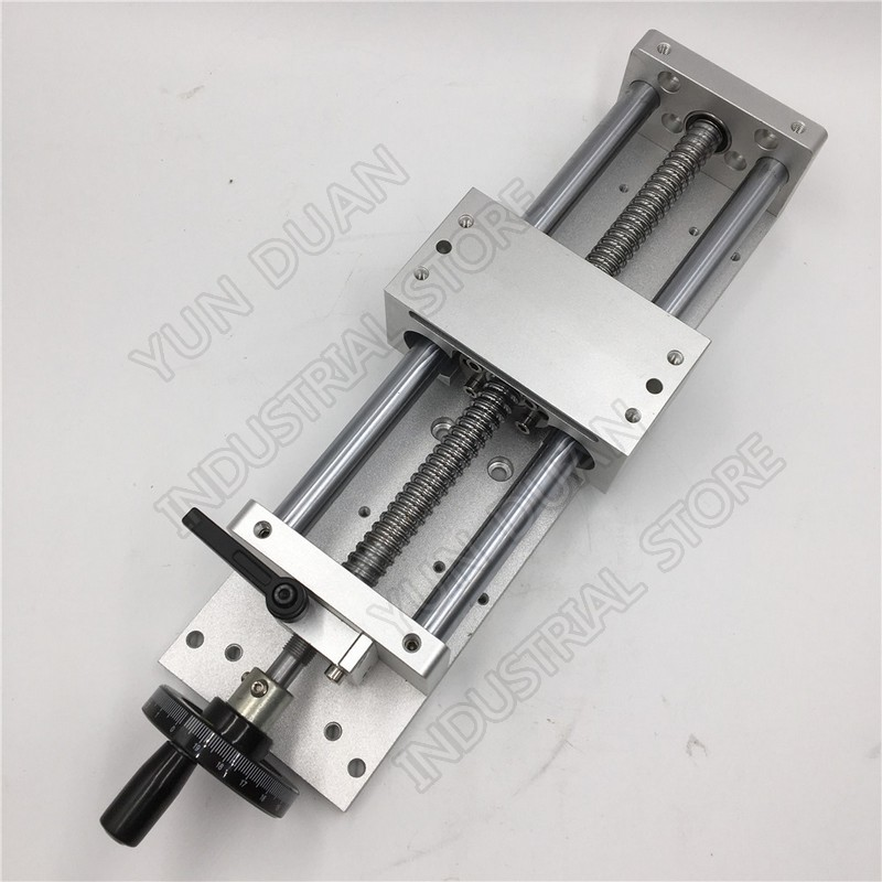 200MM 8 Stroke Manual hand wheel Linear module Sliding Table Slide Linear Stage SFU1605 Ball screw