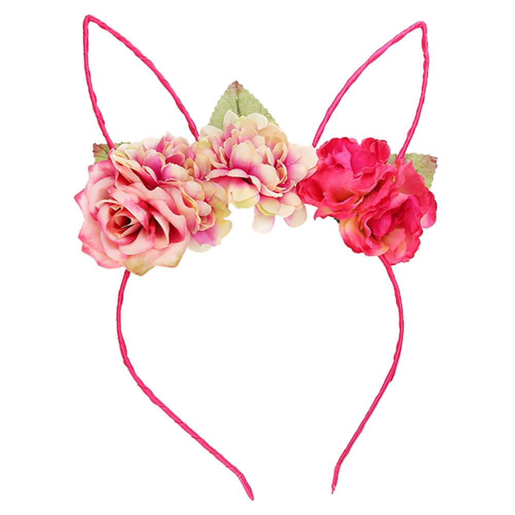 Children's Headdress Rose Headband Flower Lace Rabbit Ears Headband Kids Girls Cosplay Hair Accessories Halloween Costumes Props