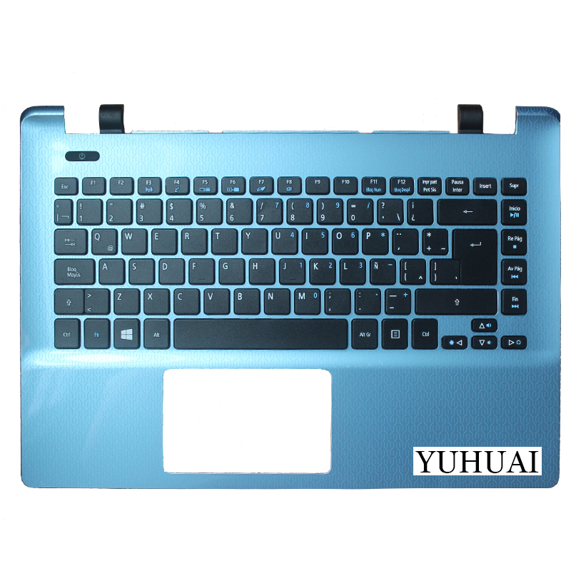 New Latin Keyboard For Acer Aspire E14 E5-411 E5-411G LA Laptop Keyboard with Palmrest cover laptop keyboard for acer silver without frame bulgaria bu v 121646ck2 bg aezqs100110