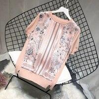 Luxury Designer Brand Knitted Blouses for Women O Neck Vintage Satin Flower Print Splice Knitted Blouses Loose Shirts