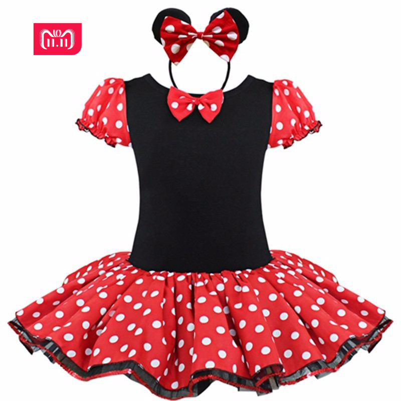 2017 Kids Christmas minnie mouse Baby Gift Party Fancy Costume Cosplay Girls Ballet Tutu Dress+Ear Headband 12M-6Y baby kids dress minnie mouse party fancy costume cosplay girls ballet tutu dress ear headband girl polka dot clothing girl dress