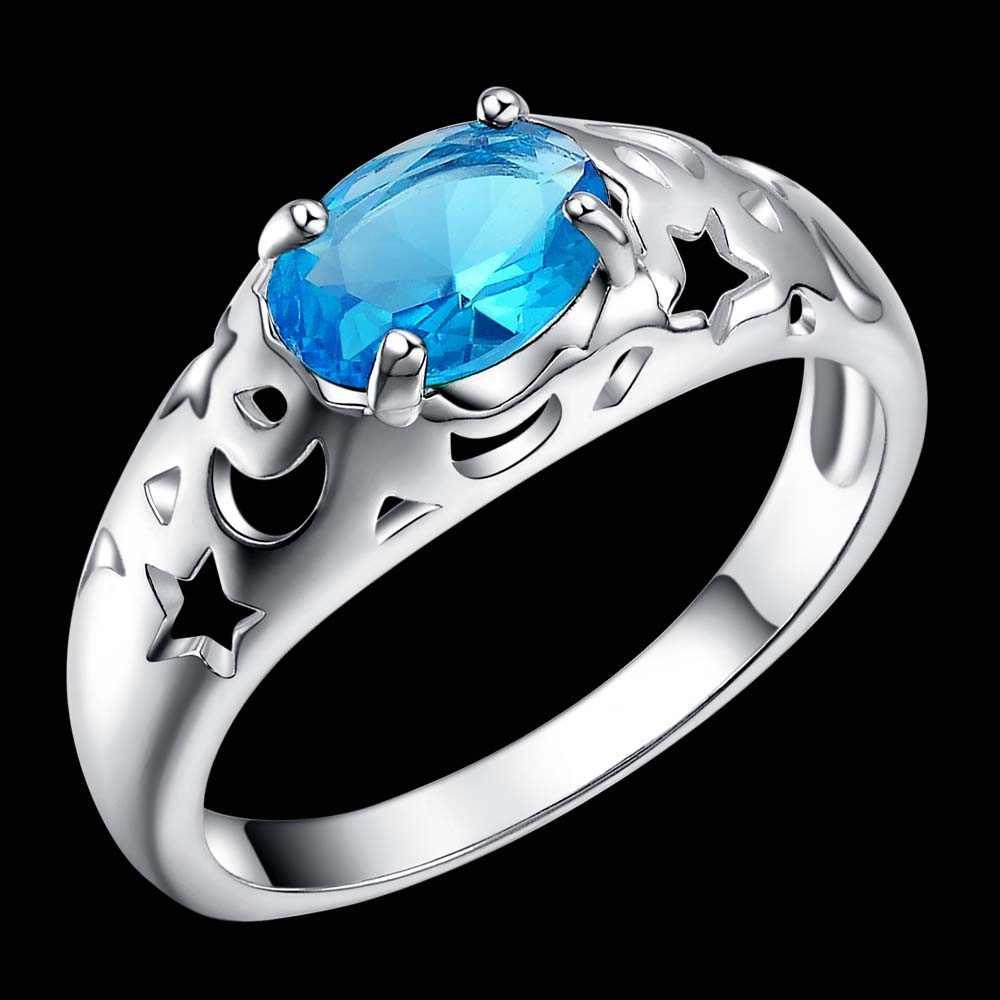 Moon star blue zircon Oval 925 ювелирное серебряное кольцо, модное Ювелирное кольцо для женщин,/IPYWWZKN ZKVAWYCX