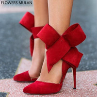 Red Green Black Suede Ladies Pumps Shoes Pointed Toe Cover Heel High Heels Female Stilettos Chic Ankle Bowtie Gladiators Shoes