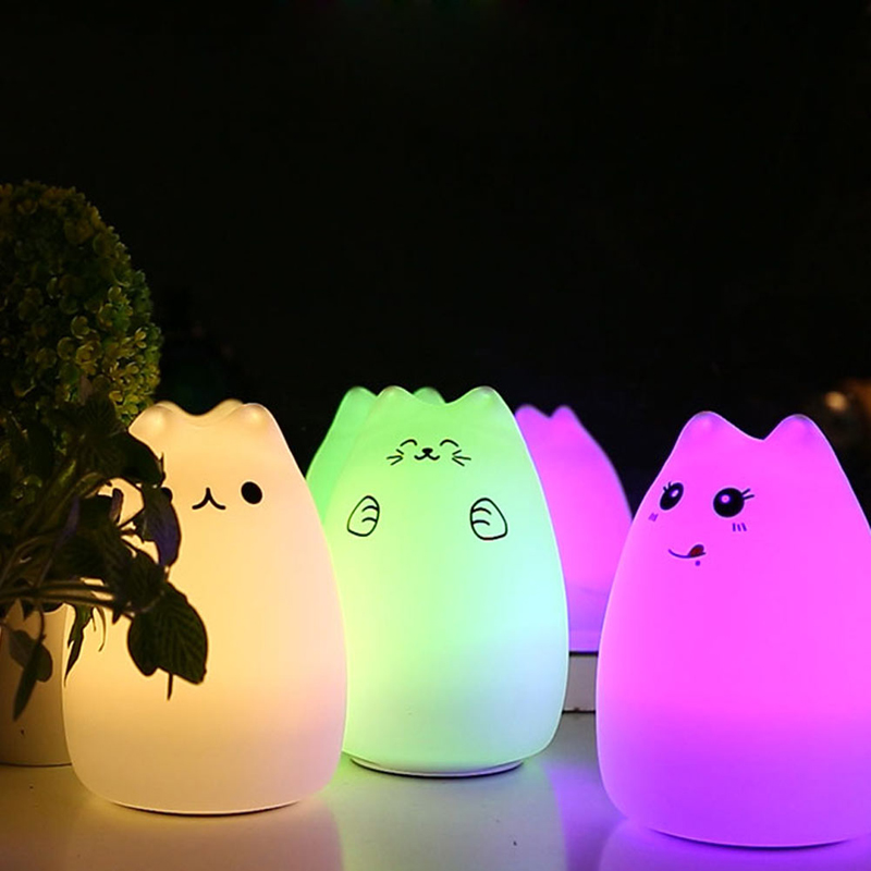 Better Night Lights USB Cat LED Children Animal Night Light Silicone Soft Cartoon Baby Nursery Lamp Variable color