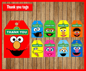 Sesame Street Thank You Tags Gift Favors Elmo Tags Gift Label Birthday Party Decorations Kids Party Supplies Baby Shower image