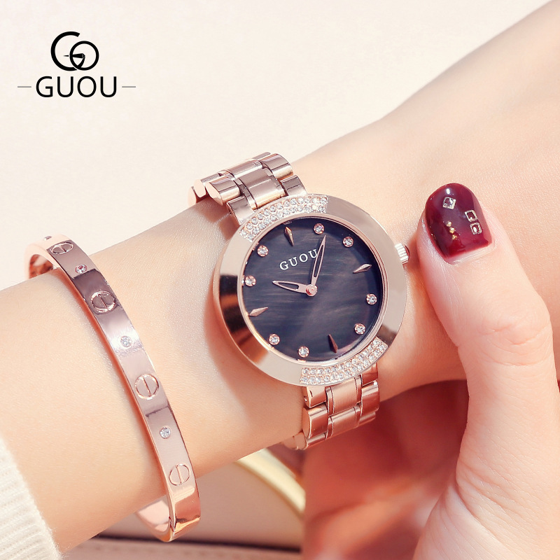 GUOU Luxury Full Rhinestone Women Dress Leisure Watches Ladies Full Steel Simple Business Bracelet Rose Gold Quartz Wristwatch mulilai 2018 dress women watches full steel rose gold bracelet wristwatch business quartz ladies watch montre relogio feminino