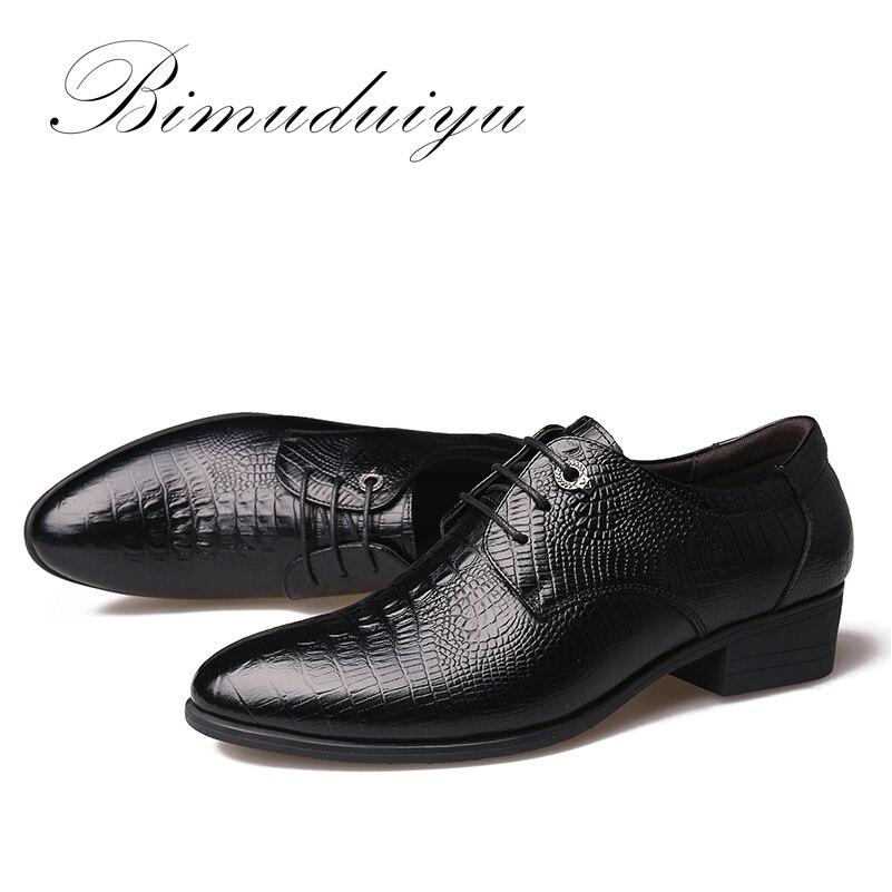 BIMUDUIYU Krokodil Stil Männer Business Kleid Schuhe Aus Echtem - Herrenschuhe - Foto 4