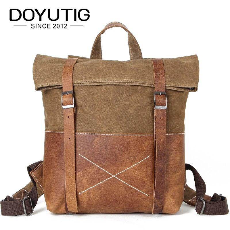 Sac à dos en toile imperméable pour hommes sacs de voyage en cuir de cheval jaune pour homme avec sacs à dos d'école de mode garçon de grande capacité H015