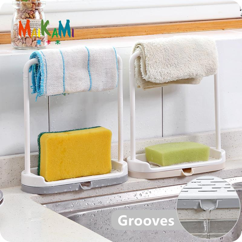 MAIKAMI Kitchen Countertops Storage Racks Dust Sheets Dish Drain Shelfs Free Punch Towels Cloth Sheets Rag Racks Freeshipping