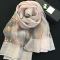 2016 New Silk Embroidery Women Winter Scarves Light-Colored Wool Woman Autumn Scarf Air Conditioning Shawls Pareo Echarpe SJ