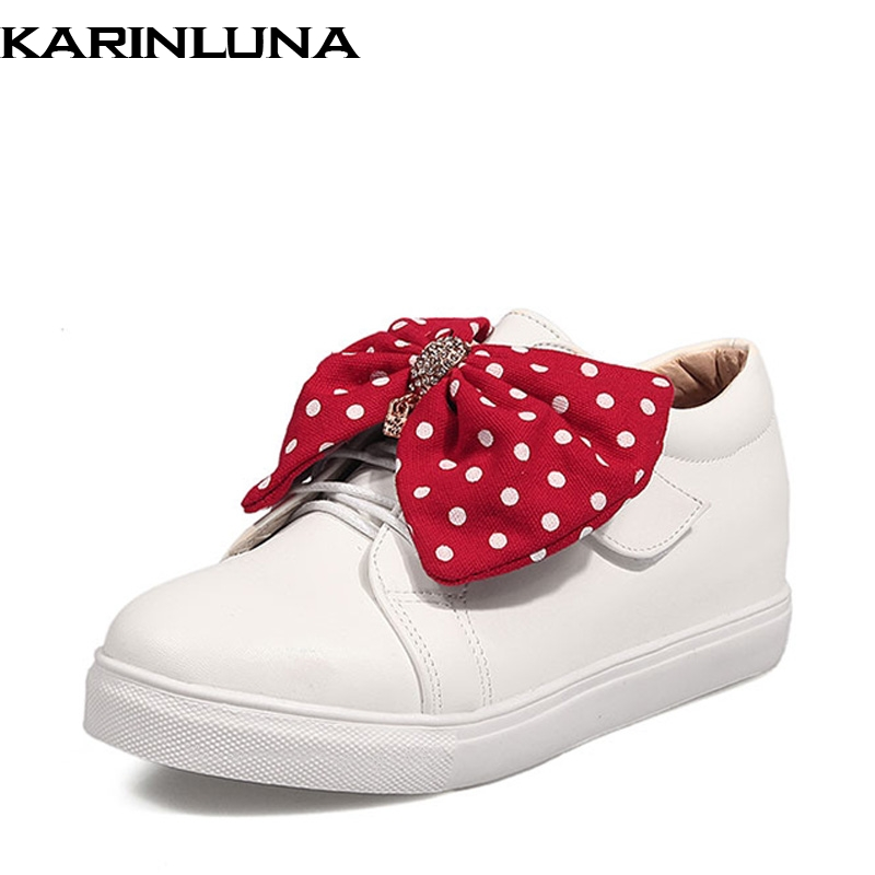 Big Size 34-43 Women Flats Sweet Polka Dot Butterfly Knot Slip On Round Toe Woman Leisure Shoes Autumn Spring new 2017 spring summer women shoes pointed toe high quality brand fashion womens flats ladies plus size 41 sweet flock t179